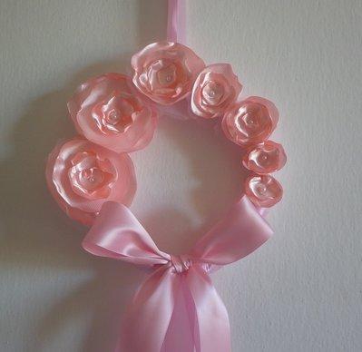 COCCARDA FIOCCO NASCITA ROSA con fiori bambina bimba FEMMINA nastro rosa fatto a mano