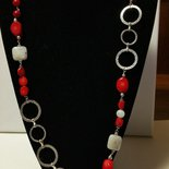 collana lunga rosso-bianco