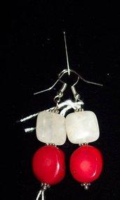 orecchini pendenti rosso-bianco