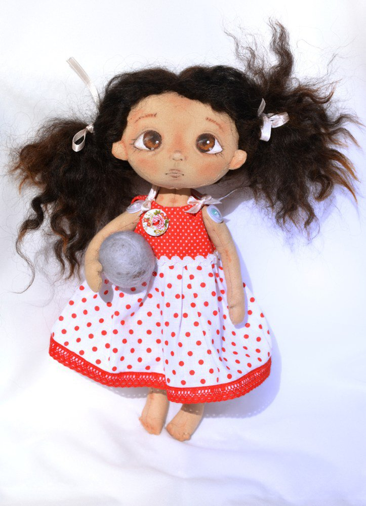 """Bambola di stoffa da collezione -"""" Andiamo giocare""""... 28 cm"""
