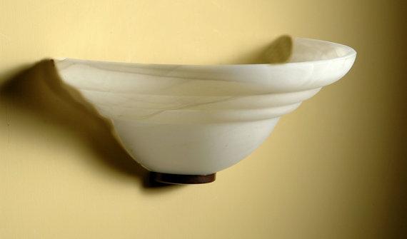 Applique 2200 in vetro bianco latte colore Marmo completa