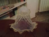 Tazzina in vetro soffiato Opalino con polvere oro 24 k,  ricambio per lampadari