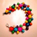Braccialetto colori arcobaleno con perline in legno fatto a mano