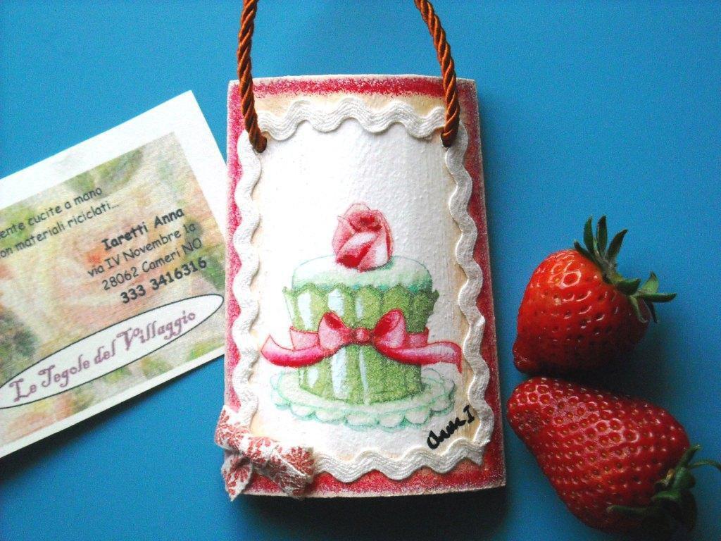 Tegola di legno in miniatura fiore di muffin. Idea regalo. Bomboniera.
