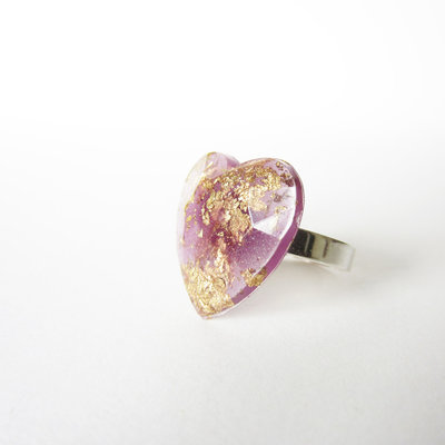 Anello cuore lilla glitter e foglis oro in resina e argento 925