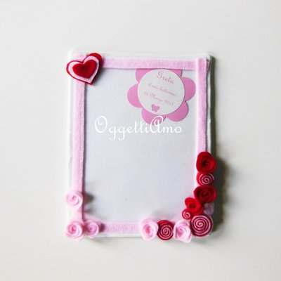 Cornici di stoffa con dettagli in pannolenci per le foto della vostra bambina!