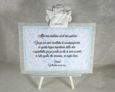 Targhetta con angelo versione azzurro - regalo bomboniera madrina padrino Battesimo