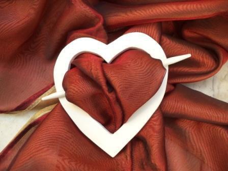 Cuore romantico in legno fermatenda shabby
