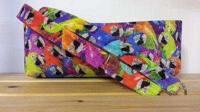 Vaschetta in velluto con manici abbinati fantasia pappagalli