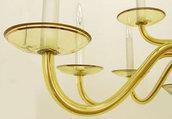 Tazzina in vetro soffiato colore champagne, ricambio per lampadari