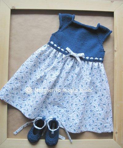 Abito Bambina In Cotone Blu Con Corpetto A Maglia E Tessuto Piquet