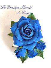 """Spilla """"Rose Blu"""" fatta a mano"""