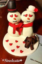 Cake Topper Matrimonio con omini di neve (SOLO SU RICHIESTA)