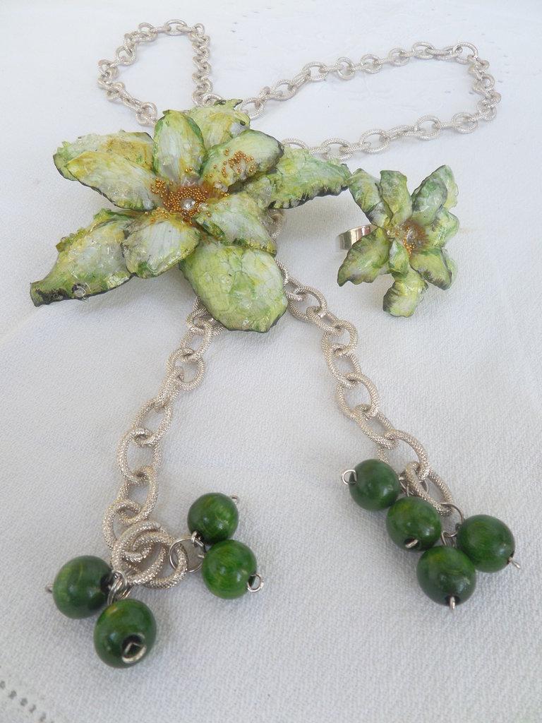 """parure """"greenflower"""" collection love sospeso trasparente collana + anello"""