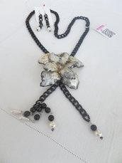 "Collana ""blackflower"" collection love sospeso trasparente"