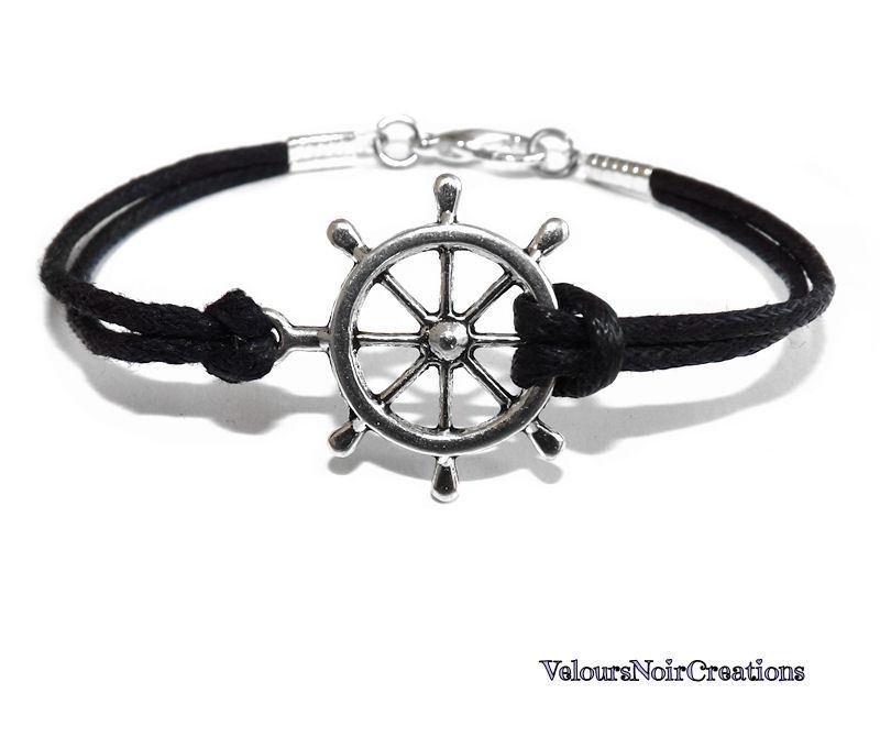 bracciale con timone uomo donna metallo cordino nero unisex mare estate