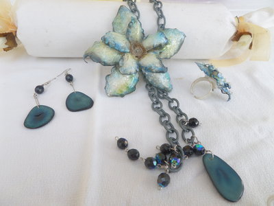 "Collana ""blueflower"" collection love sospeso trasparente"