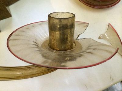 Tazza in vetro soffiato fum con filo bordo rosso for Lampadari con filo lungo