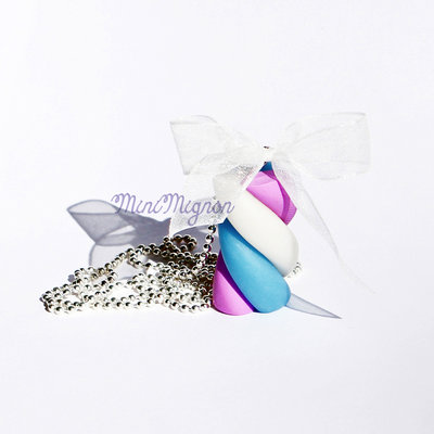 Collana con Marshmallow Rosa, Azzurro e Bianco