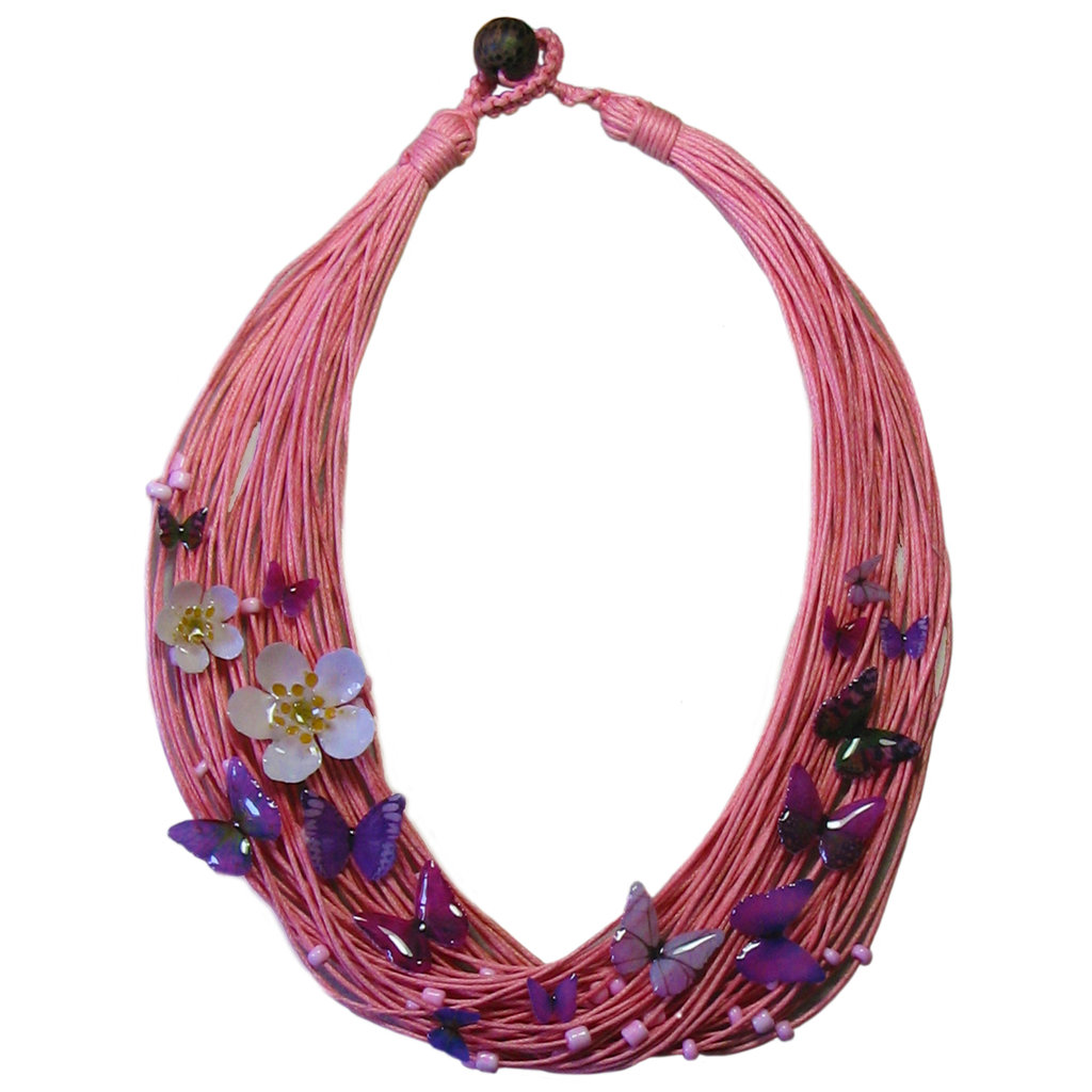Collana millefili rosa