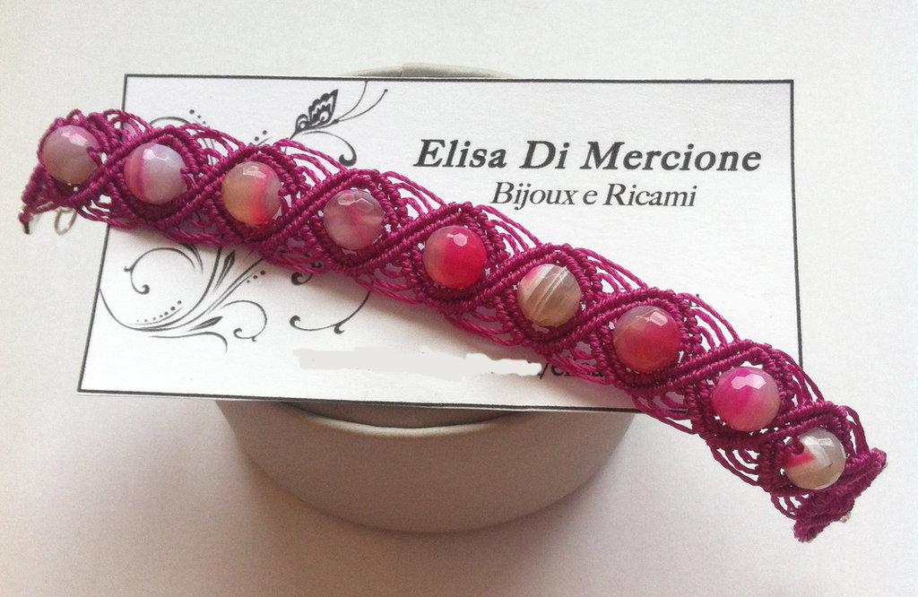 Bracciale in Micro Macramè con perle di Agata