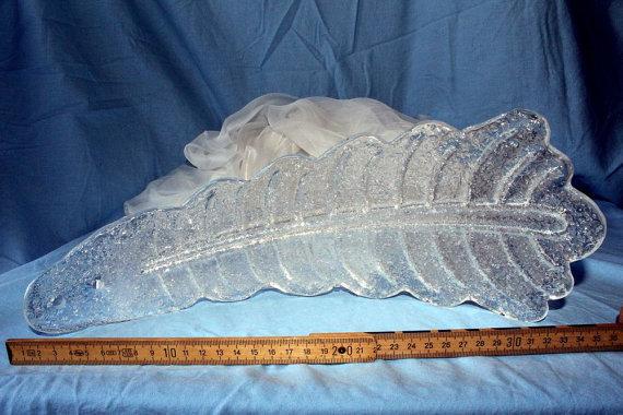 Foglia alta in vetro di murano granigliato trasparente