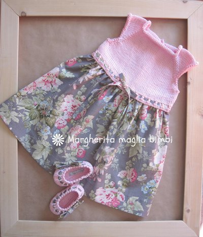 Abito Bambina In Cotone Rosa Con Corpetto In Maglia E Tessuto Ameri
