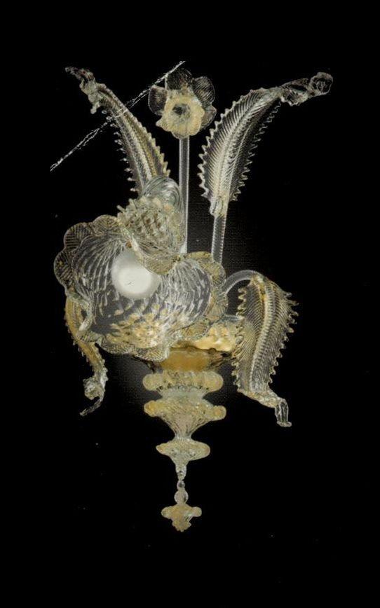 51- Applique 1 luci in vetro di murano cristallo oro con polvere oro nelle morise