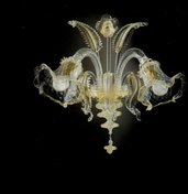51- Applique 2 luci in vetro di murano cristallo oro con polvere oro nelle morise