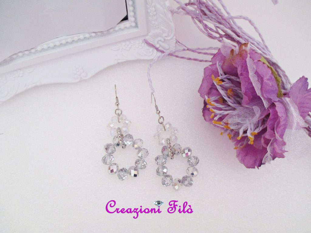 Orecchini pedenti argentati crystal