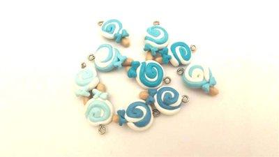 LECCA LECCA CELESTE    e sfumature - COPPIA DI CIONDOLI FIMO per creare orecchini braccialetti collane