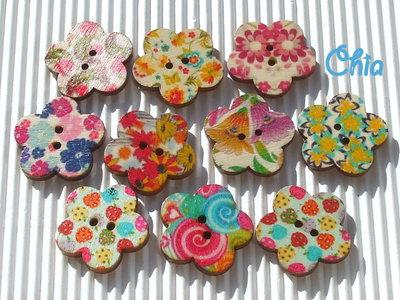 set 10 bottoni a fiore in legno stampati 20 × 20mm