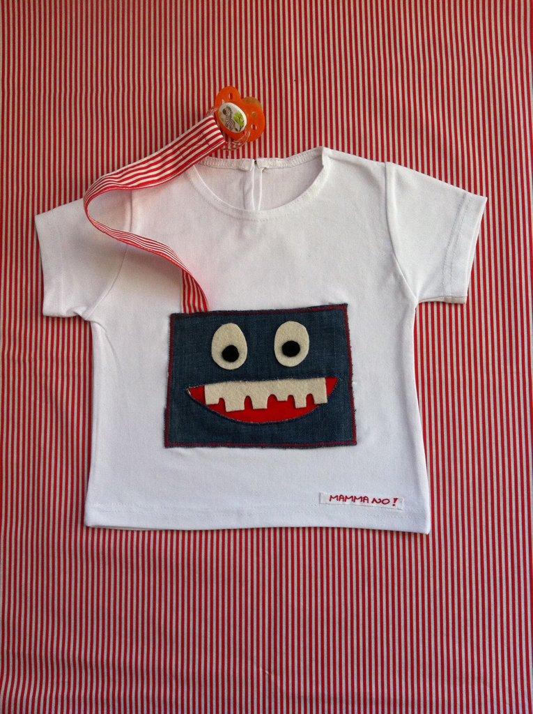Maglietta porta-ciuccio MAMMANO bimbo mostro jeans