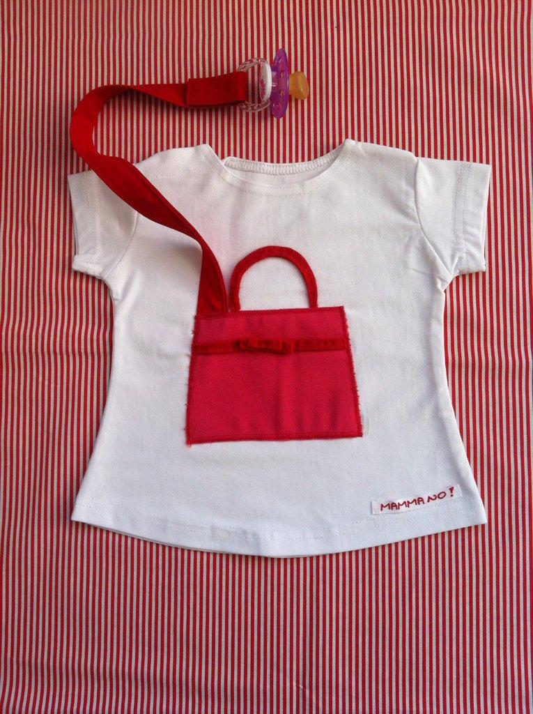 Maglietta porta-ciuccio MAMMANO bimba borsa fucsia