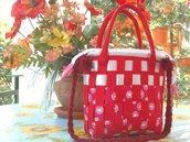 Borsa a tracolla di panno rosso intrecciato, cucita a mano!!! Idea regalo.
