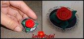 Spilla lavorata a mano con rosa rossa