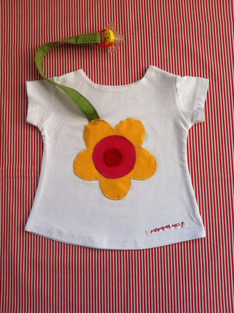 Maglietta porta-ciuccio MAMMANO bimba fiore