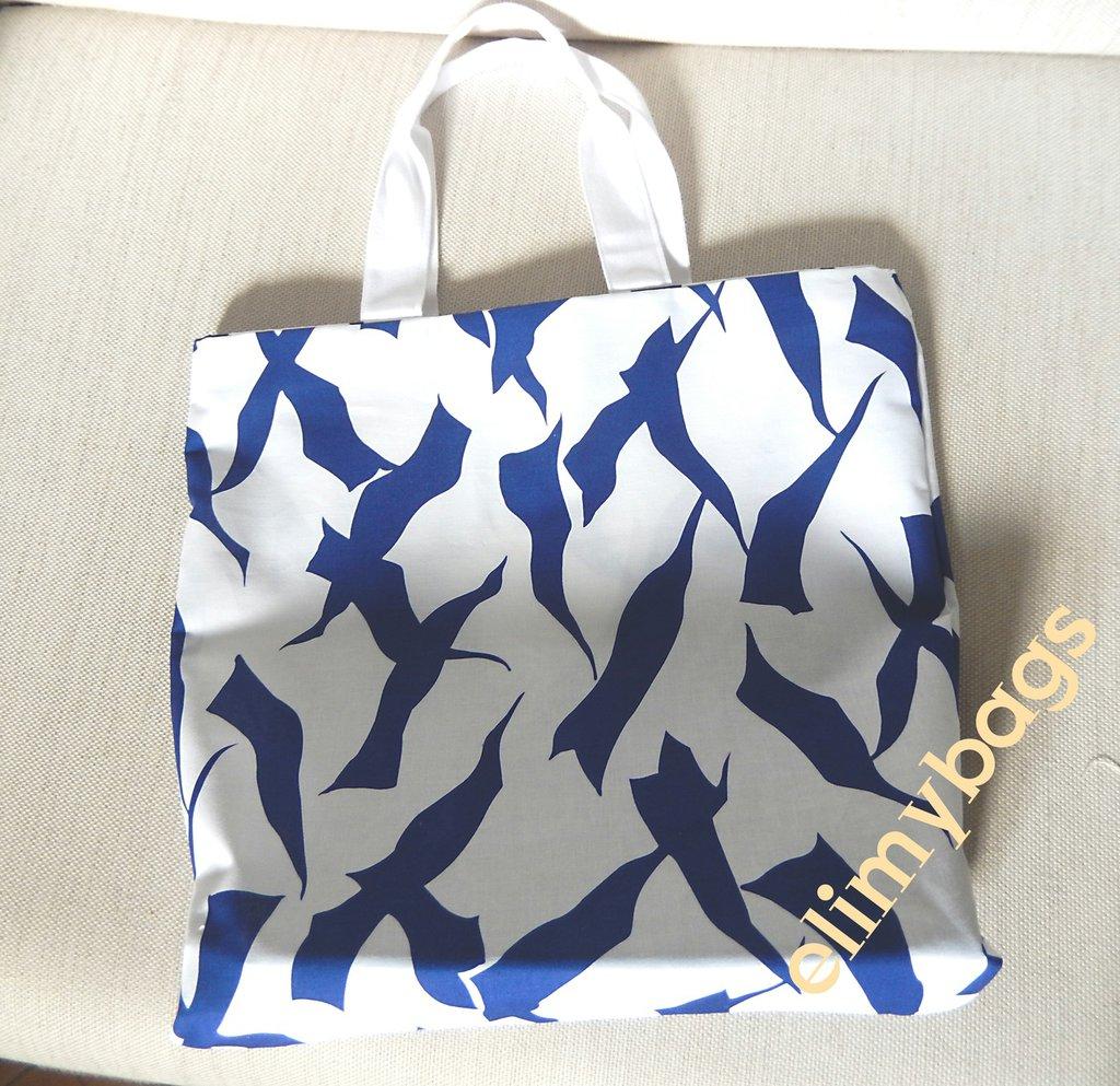 Shopping bag bianco blu mare e gabbiani handmade♥