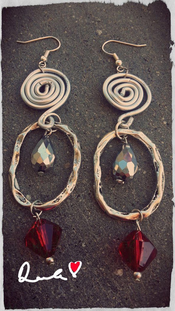 orecchini pendenti color argento anticato