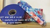 Kit vaschetta con manici abbinati e 500 gr di lycra bluette