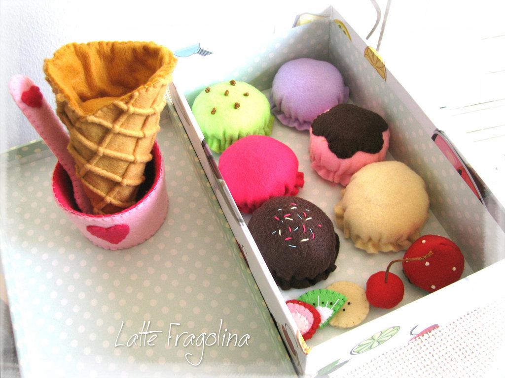 Giocattolo Set gelato in feltro (piccolo) - Alimenti e cibo in feltro per bambini