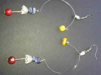 Orecchini di bigiotteria Perline Perle Grandi a Cerchio Donna stock rivendita Argento tibetano Legno artigianali Prezzi al paio