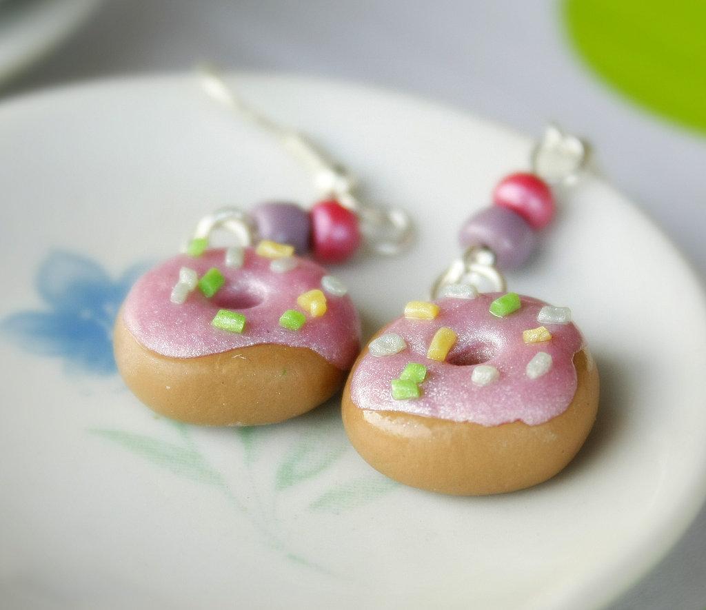Orecchini Donut con Glassa Rosa Perla
