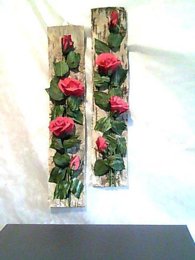 Quadri su corteccia 3d rose rosse per la casa e per te for Quadri con rose rosse