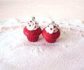 Orecchini cupcakes red velvet in fimo