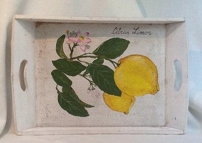 """VASSOIO LEGNO rettangolare dipinto a mano, """" Fior di Limoni"""""""