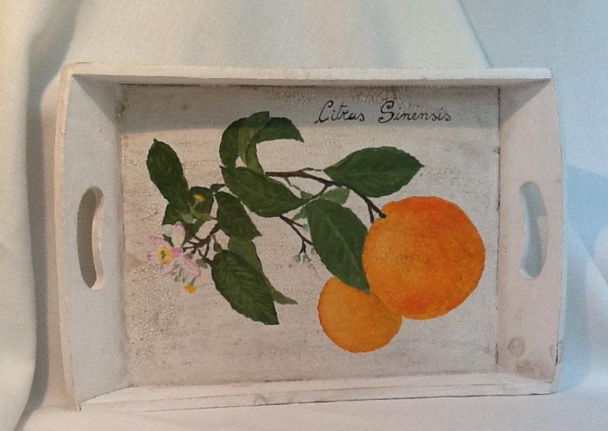 """VASSOIO LEGNO rettangolare dipinto a mano, """" Fiori d'Arance"""""""