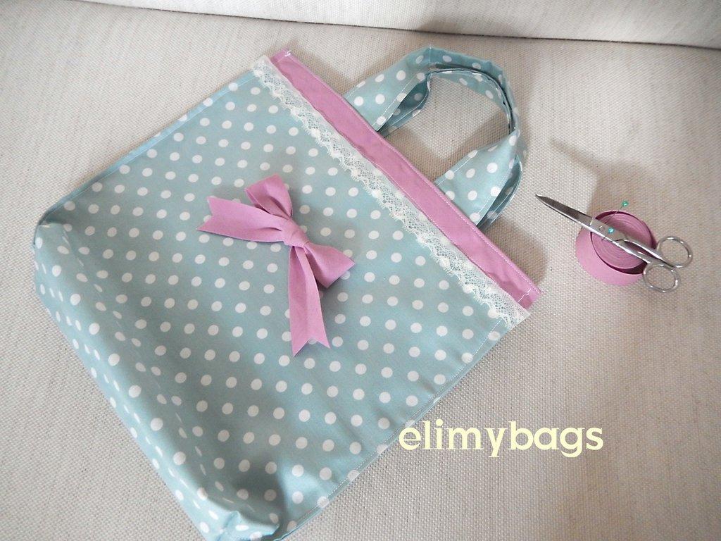 Shopping bag shabby azzurra a pois bianchi fatta a mano♥
