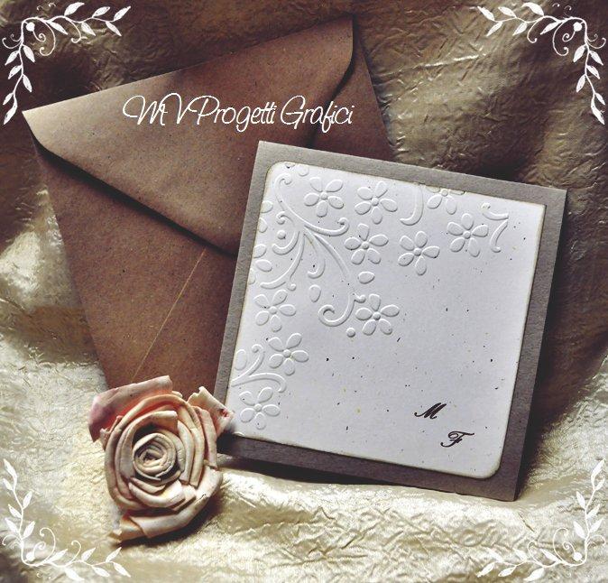 Partecipazioni Matrimonio Shabby Chic On Line : Partecipazione stile shabby chic quadrata pieghevole