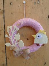 Ghirlandina fuoriporta in cotone rosa e feltro